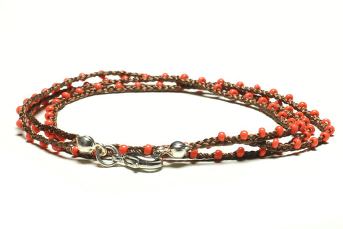 "16"" braided chestnut brown silk thread necklace with pearl seed beads and silver plated clasp"