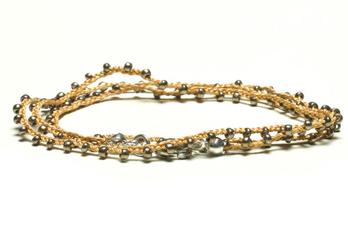 "16"" braided gold silk thread necklace with bronze seed beads and silver plated clasp"