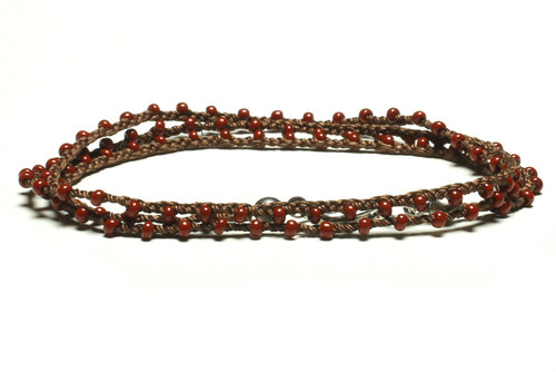 "16"" braided chestnut brown silk thread necklace with burgandy seed beads and silver plated clasp"