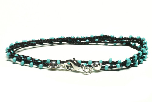"16"" braided black silk thread necklace with turquoise seed beads and silver plated clasp"