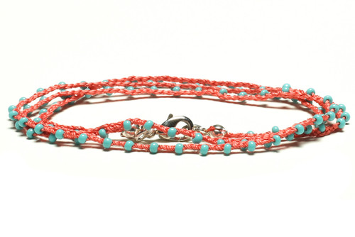 "16"" braided coral silk thread necklace with turquoise seed beads and silver plated clasp"