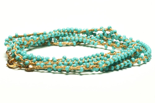 "32"" braided gold silk thread necklace with double beaded turquoise seed beads and gold plated clasp"