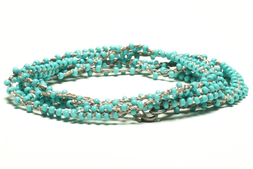 "32"" braided light blue grey silk thread necklace with double beaded turquoise seed beads and silver plated clasp"
