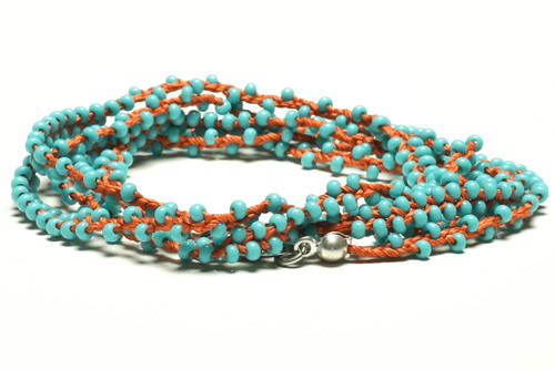 """32"""" braided coral silk thread necklace with double beaded turquoise seed beads and silver plated clasp"""