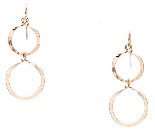 Golden Age hammered double hoop drop earring with gold plate finish. Surgical steel earwire.