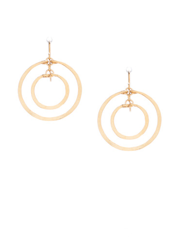 Hammered Geometric Gold Double Hoop Earrings, Handmade Bohemian Earrings / GAE G B5-1