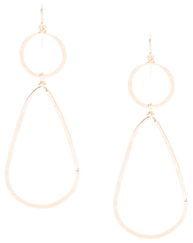 Golden Age hammered circle and teardrop drop earrings with gold plate finish. Surgical steel earwire.