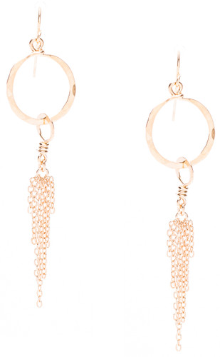"Golden Age Earrings - Gold plated hammered hoops with dangling chains, 2 7/8"" inches long."