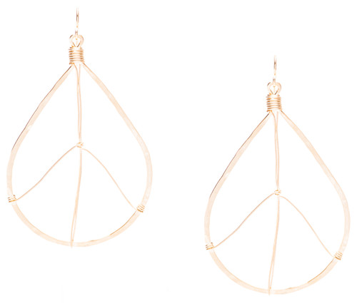 Golden Age Earrings - Gold plated hammered tear drop peace sign earrings.