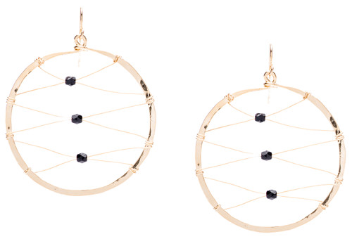 Golden Age Earrings - Gold plated hammered hoop earrings with zig-zag mesh design and black celestial crystal beads centered.