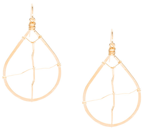 Golden Age hammered teardrop earring with wire accent in gold plate finish. Surgical steel earwire.