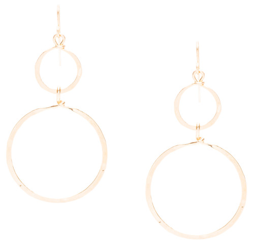 Golden Age hammered double hoop dangle earrings in gold plate finish. Surgical steel earwire.