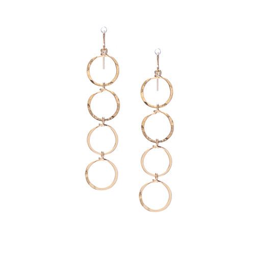 (Small) Hammered Geometric Minimalist gold Round Links hoop Drop Earrings, Handmade / GAE G B46-1