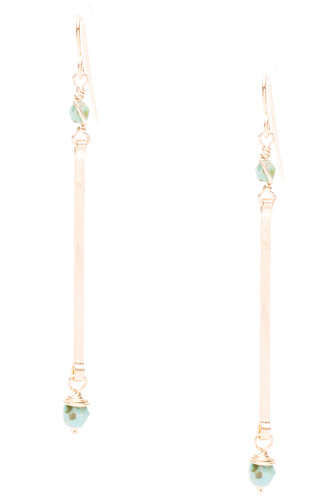 Golden Age hammered stick line earrings with picasso turquoise earrings. Surgical steel earwire.