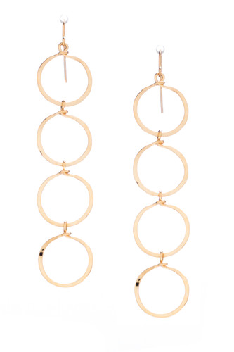 (Medium) Hammered Geometric Minimalist gold Round Links hoop Drop Earrings, Handmade / GAE G B46-2