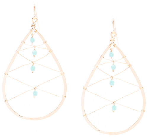 Golden Age hammered tear drop earrings with criss cross wire mesh and turquoise fire polished crystals in gold plate finish. Surgical steel earwire.
