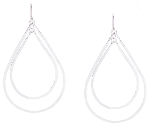 Golden Age hammered inserted double tear drop hoop earrings in silver plate finish. Surgical steel earwire.