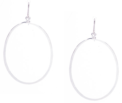 Golden Age hammered peace sign earrings in silver plate finish. Surgical steel earwire.