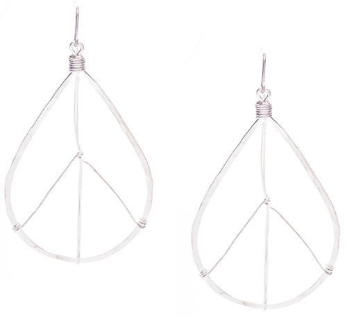 Golden Age hammered tear drop peace sign hoop earrings in silver plate finish. Surgical steel earwire.