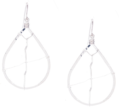 Golden Age hammered tear drop earrings with criss cross wire designs in silver plate finish. Surgical steel earwire.