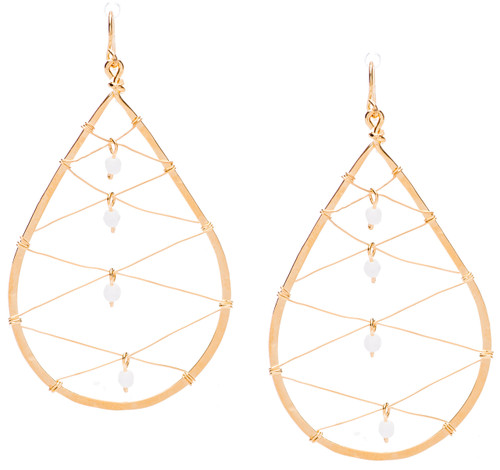 Golden Age hammered tear drop shaped hoop earrings w. embedded criss cross mesh design and white alabaster fire polished crystal in the center. Gold plate finish. Surgical steel earwire.