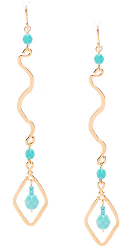 Golden Age hammered snake shaped earrings with turquoise fire polished crystals. Gold plate finish. Surgical steel earwire.