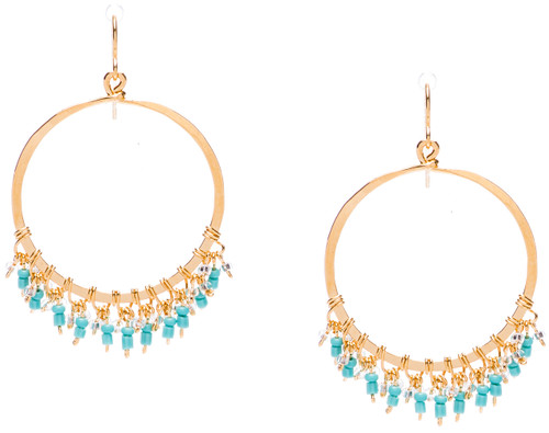 Golden Age hammered circular shaped hoop earrings w.turquoise fire polished crystals embedded on the bottom inner edges. Gold plate finish. Surgical steel earwire.