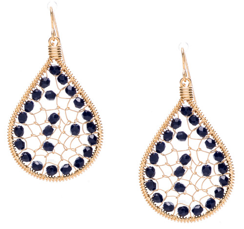 Ipamema Earrings - Tear drop earrings with onyx fire polished crystals in gold plate finish. Surgical steel earwire.