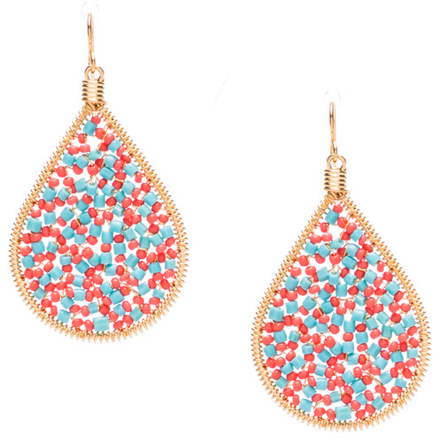 Ipamema Earrings - Tear drop earrings with turquoise polish crystals and coral seed beads in gold plate finish. Surgical steel earwire.