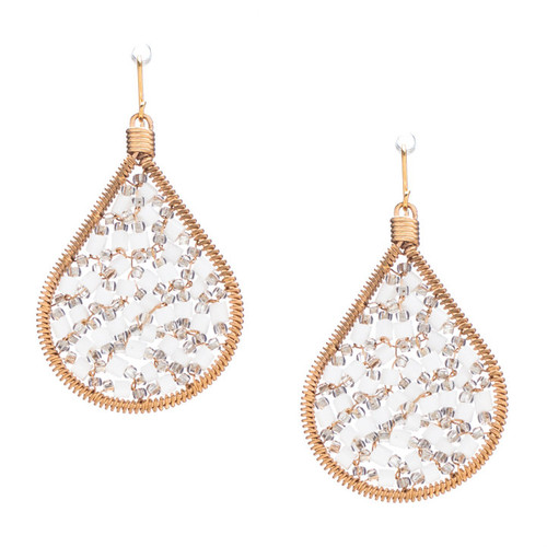 Handmade beading Czech bugle beads and seed Beads Gold Teardrop Bohemian Earrings / RQE G B14-D18
