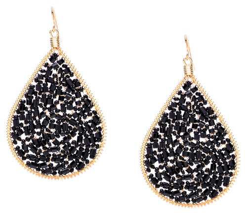 Ipamema Earrings - Tear drop earrings with hematite fire polish crystals and hematite seed beads in gold plate finish. Surgical steel earwire.