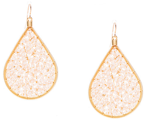 Ipamema Earrings - Tear drop earrings with pearl fire polish crystals and pearl seed beads in gold plate finish. Surgical steel earwire.