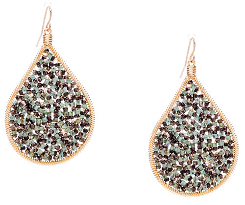 Ipamema Earrings - Tear drop earrings with turquoise picasso fire polish crystals and brown picasso seed beads in gold plate finish. Surgical steel earwire.