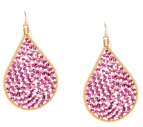 Ipamema Earrings - Tear drop earrings with amethyst fire polish crystals and amethyst seed beads in gold plate finish. Surgical steel earwire.