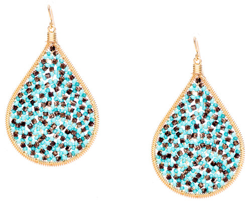 Ipamema Earrings - Tear drop earrings with brown picasso fire polish crystals and turquoise seed beads in gold plate finish. Surgical steel earwire.