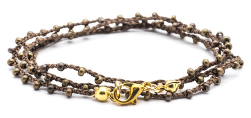 """16"""" braided brown silk thread necklace with bronze dorado seed beads and gold plated clasp."""