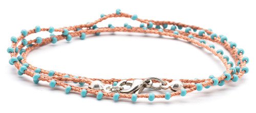 """16"""" braided coral silk thread necklace with turquoise seed beads and silver plated clasp."""