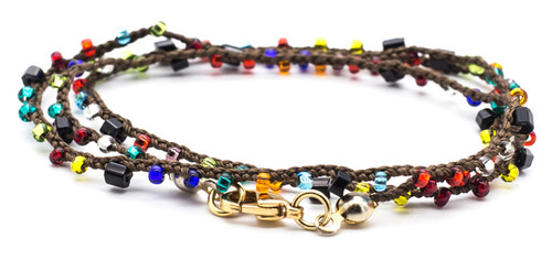 """32"""" braided brown silk thread necklace with multicolor bugle and seed beads (onyx, garnet, indicolite, & siam mix) and gold plated clasp."""