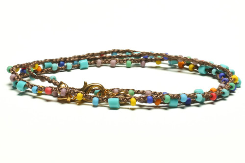 "16"" braided brown silk thread necklace with playful multicolor seed beads and bugle beads. Gold plated clasp."