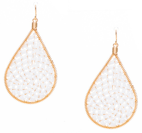 Ipamema Earrings - Tear drop earrings with white alabaster fire polish crystals and white alabaster seed beads in gold plate finish. Surgical steel earwire.