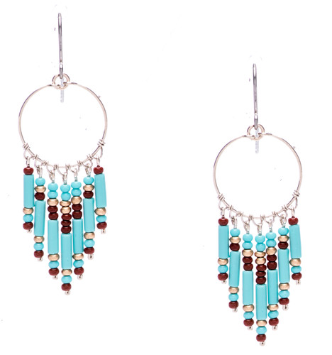 Boho chic, a tantalizing mix and match of mesmerizing turquoise,mocha, gold bugle and seed beads on silver plate finish hoop and wire. Surgical steel earwire.