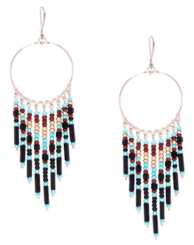 Boho chic, a tantalizing mix and match of mesmerizing turquoise, gold, mocha, onyx, bugle and seed beads on silver plate finish hoop and wire. Surgical steel earwire.