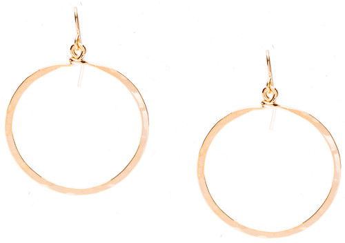 Golden Age Earrings - Hammered hoop earrings in gold plate finish. Surgical steel earwire.