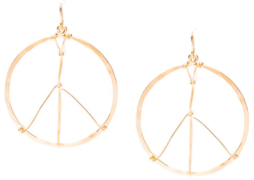 Golden Age Earrings, large size peace sign hammered hoop earrings in gold plate finish. Surgical steel earwire.