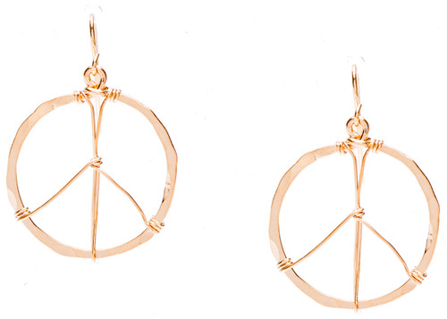 Golden Age Earrings, small size peace sign hammered hoop earrings in gold plate finish. Surgical steel earwire.