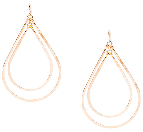 Golden Age hammered double teardrop earrings with gold plate finish. Surgical steel earwire.