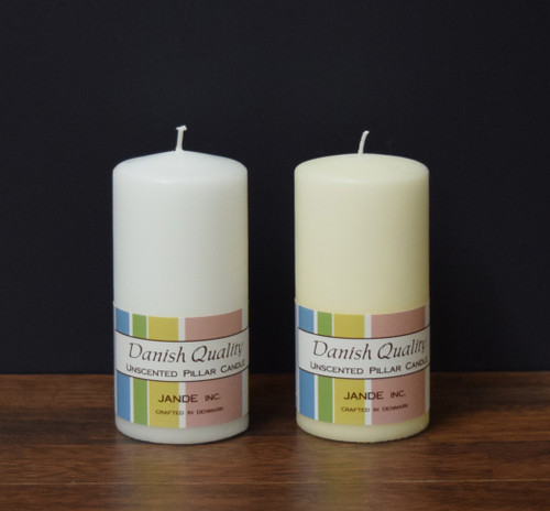 "2.75"" x 6"" White and Ivory Danish Pillar Candles"