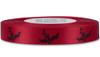 Black English Holly on Red Ribbon - Double Faced Satin Symbols