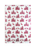Gift Wrap - Reindeer & Tree - Silver and Garnet Red