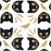 Gift Wrap - Meow Meow - White/Black/Metallic Black